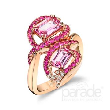 Parade Design 18k Rose Gold Pink Sapphire and Diamond Ring