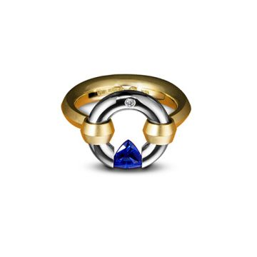 Steven Kretchmer 18k Two Tone Gold Tension-Set Engagement Ring