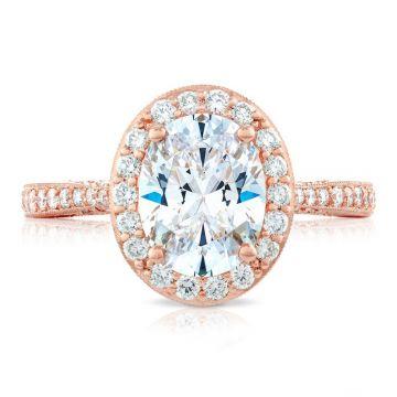 Tacori 18k Rose Gold RoyalT Diamond Halo Engagement Ring