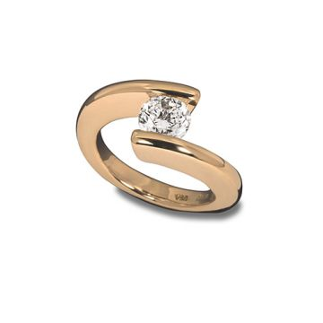 Steven Kretchmer 18k Yellow Gold Tension-Set Engagement Ring