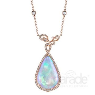 Parade Design 18k Rose Gold Opal and Diamond Necklace