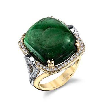 Parade Design 18k Two Tone Gold Tourmaline and Diamond  Ring