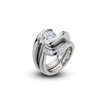 Steven Kretchmer Platinum Diamond Swirl Wedding Band