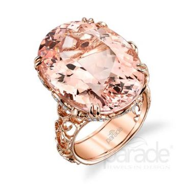 Parade Design 18k Rose Gold Morganite and Diamond Ring