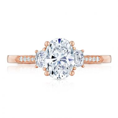 Tacori 18k Rose Gold 3 Stone Diamond Engagement Ring