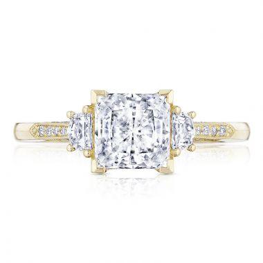 Tacori 18k Yellow Gold 3 Stone Diamond Engagement Ring
