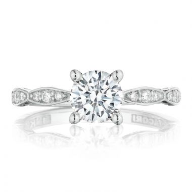 Tacori Platinum Sculpted Crescent Diamond Straight Ring