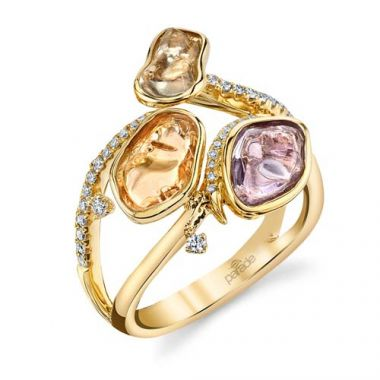 Parade Design 18k Yellow Gold Tumbled Sapphire and Diamond Ring
