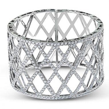 Simon G. 18k White Gold Classic Romance Diamond Bangle Bracelet