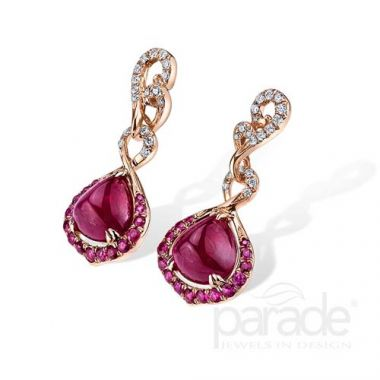Parade Design 18k Rose Gold Ruby and Diamond Earrings