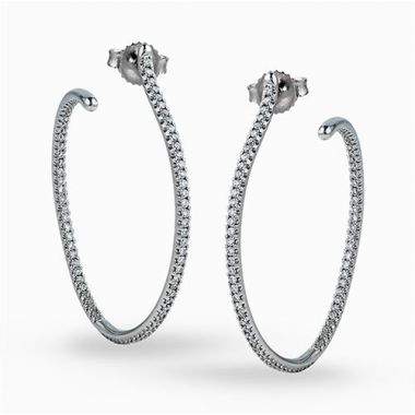 Simon G. 18k White Gold Diamond Hoop Earrings