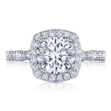 Tacori Platinum Petite Crescent Halo Ring