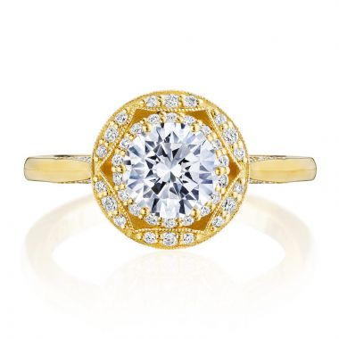 Tacori 18k Yellow Gold Crescent Chandelier Halo Ring