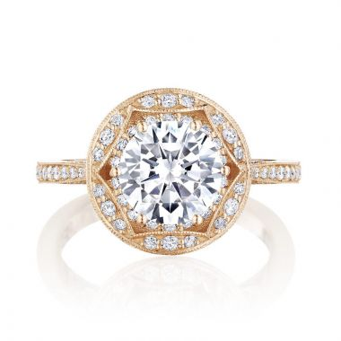 Tacori 18k Rose Gold Crescent Chandelier Halo Ring