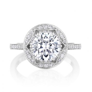 Tacori Platinum Crescent Chandelier Halo Ring