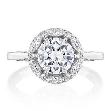 Tacori Platinum Crescent Chandelier Halo Ring