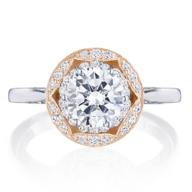 Tacori 18k Rose Gold Crescent Chandelier Halo Ring