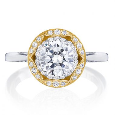 Tacori 18k Yellow Gold Crescent Chandelier Halo Ring