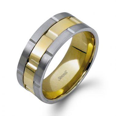 Simon G. 18k Two Tone Gold Men's Gold Wedding Band