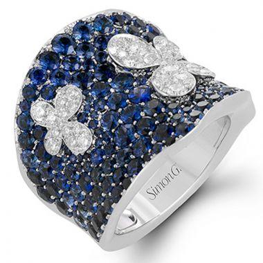 Simon G. 18k White Gold Midnight Diamond Ring