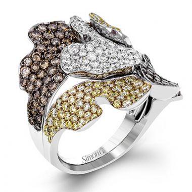 Simon G. 18k White Gold Garden Diamond Ring