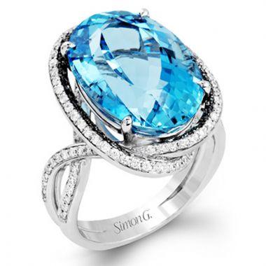 Simon G. 18k White Gold Classic Romance Diamond RIng