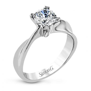 Simon G. 18k White Gold Classic Romance Solitaire Engagement Ring