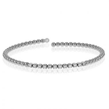 Simon G. 18k White Gold Modern Enchantment Diamond Bangle Bracelet