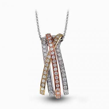 Simon G. 18k Tri-Tone Gold Diamond Pendant
