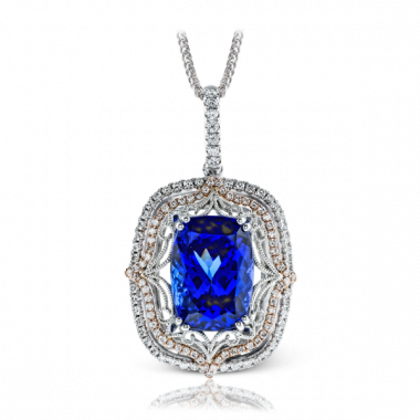 Simon G. 18k White Gold Diamond Gemstone Pendant