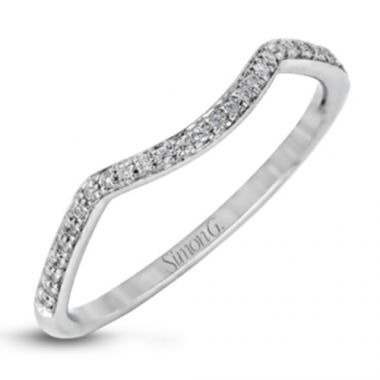 Simon G. 18k White Gold Diamond Wedding Band