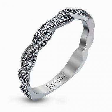 Simon G. 18k White Gold Diamond Twist Wedding Band
