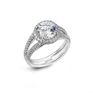 Simon G. 18k White Gold Diamond Split Shank Engagement Ring