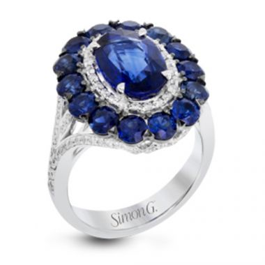 Simon G. 18k White Gold Diamond and Sapphire Ring
