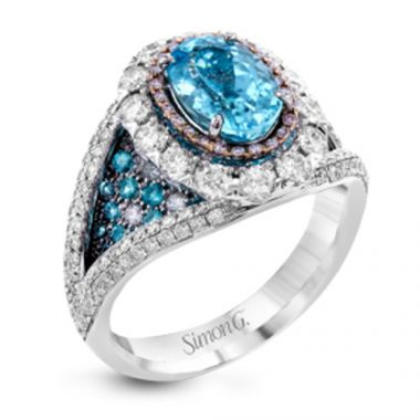 Simon G. 18k White Gold Diamond and Tourmaline Ring