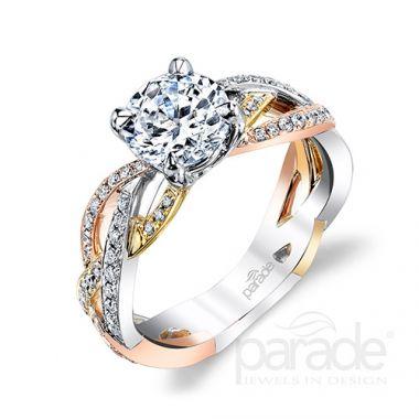Parade Design 18k Tri Tone Diamond Engagement Ring