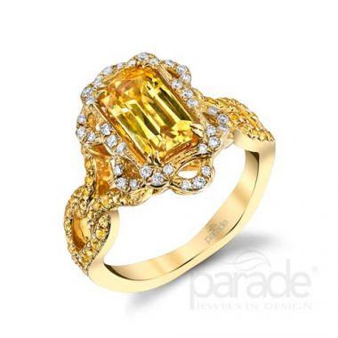 Parade Design 18k Yellow Gold Yellow Sapphire and Diamond Ring