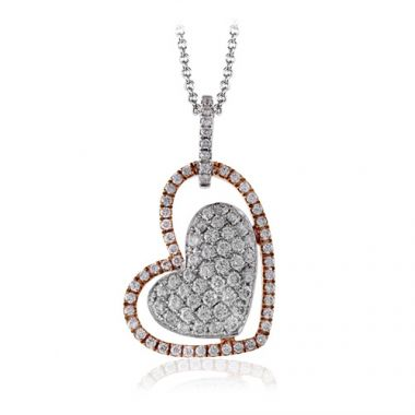 Simon G. 18k Two Tone Gold Diamond Heart Pendant