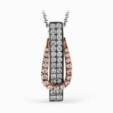 Simon G. 18k Two Tone Gold Diamond Buckle Pendant