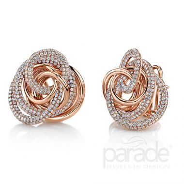 Parade Design 18k Rose Gold Diamond Earrings
