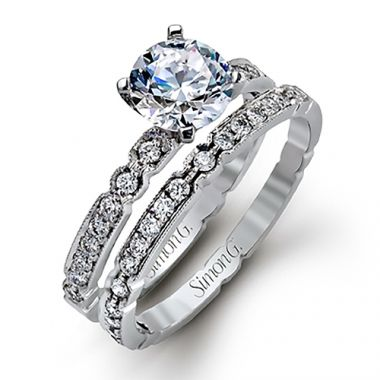 Simon G. 18k White Gold Engagement Ring/ Wedding Band Set