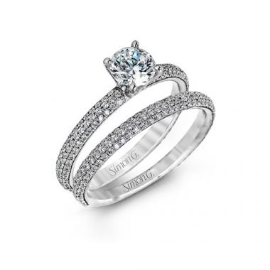 Simon G. 18k White Gold Diamond Engagement Ring and Wedding Band Set