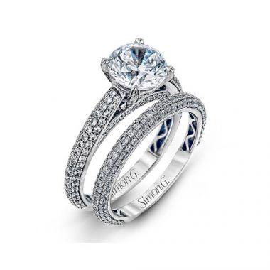 Simon G. 18k White Gold Diamond Engagement Ring and Wedding Band Set