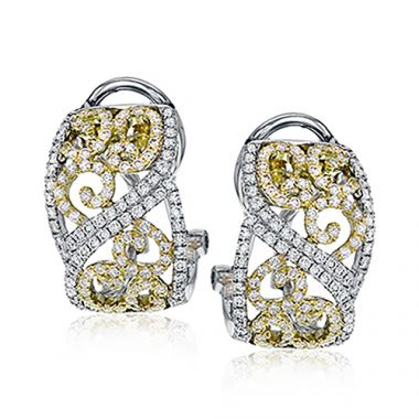 Simon G. 18k Two Tone Gold Diamond Earrings