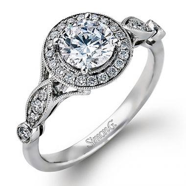Simon G. 18k White Gold Engagement Ring